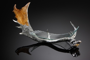 glass, silver & antler sculpture